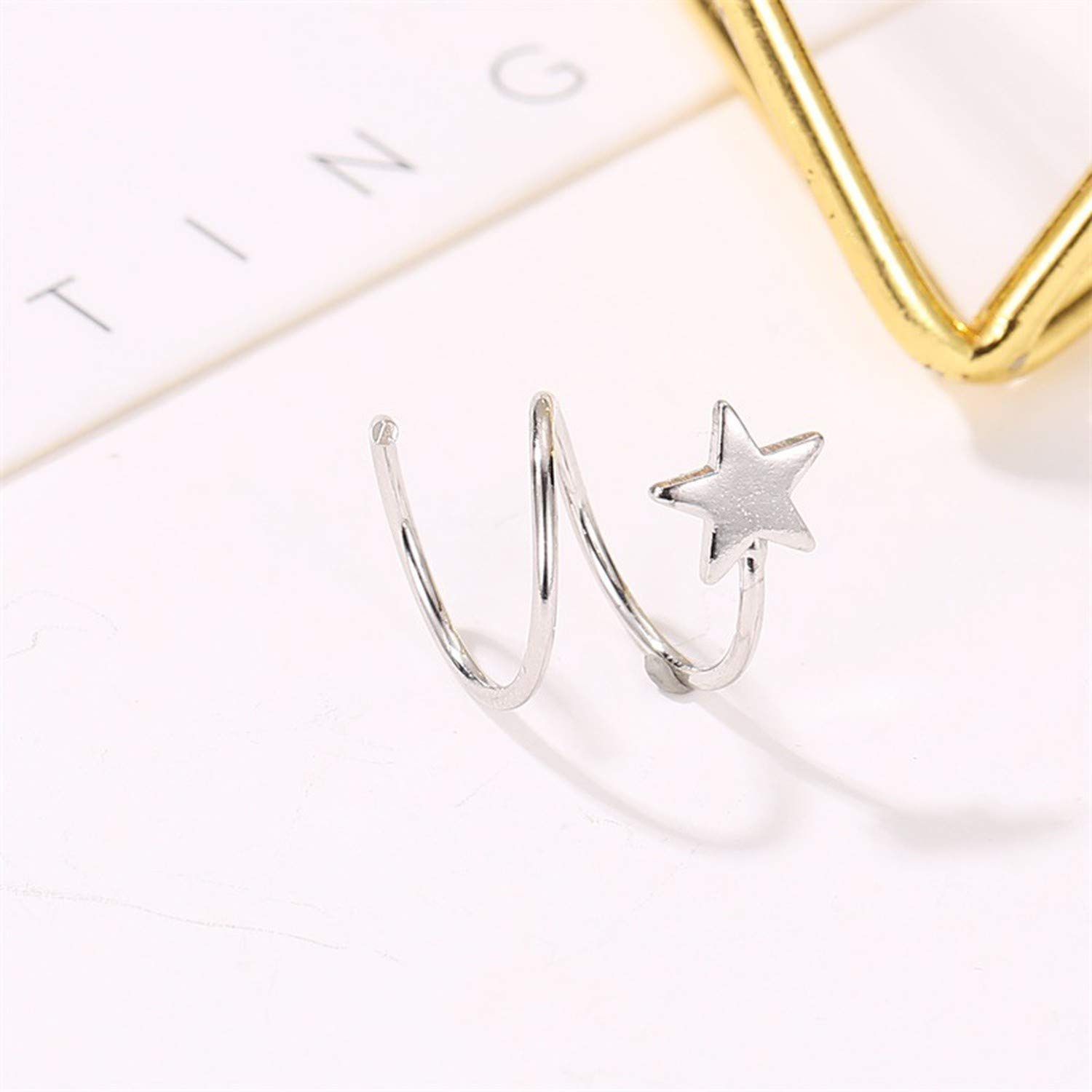 Lovely Star Triangle Silver Color Stud Earrings Fashion Simple Lines Jewelry Earrings For Women