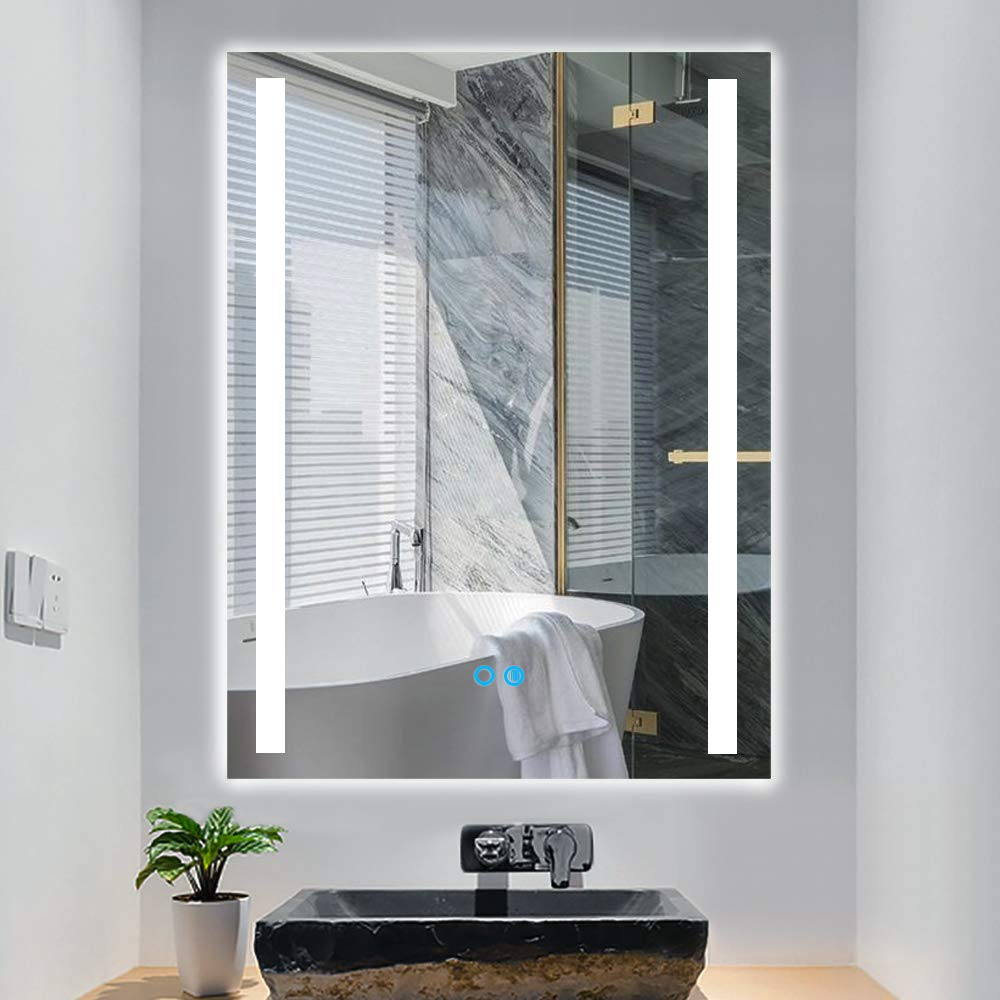 PexFix LED Bathroom Mirror, 20''x 28'' Lighted Wall Mounted Make up Mirror with Touch Dimming Switch, Anti Fog and IP44 Waterproof, 90+ CRI LED Frameless Rectangle Mirror Vertical & Horizontal Hanging by PexFix