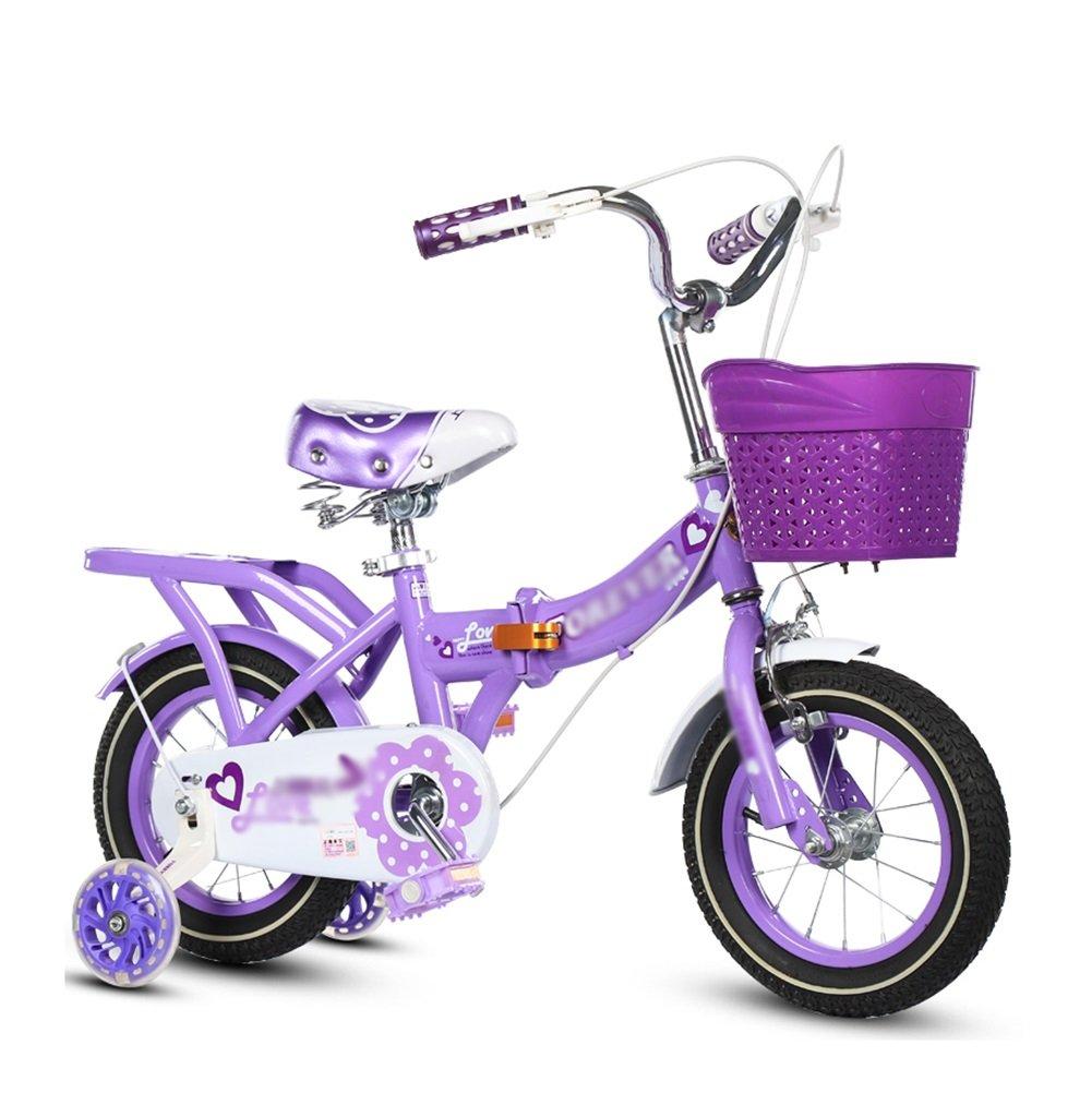 子供用自転車折りたたみ式ベビーカー女の子プリンセスモデルキッズバイク3-10歳レッドブルーピンクパープル B07DV37876 14 inch|パープル ぱ゜ぷる パープル ぱ゜ぷる 14 inch