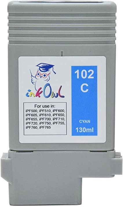 InkOwl – Compatible Cartuchos de Tinta de Repuesto para Canon PFI-102 C (130ml, Cian) – imagePROGRAF iPF500 iPF510 ...