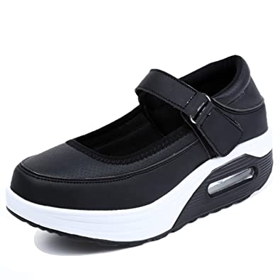 EnllerviiD RX2968banhei36-pimian Women Mary Jane Shoes Black Fitness Toning  Walking Sneakers Black 5.5 B