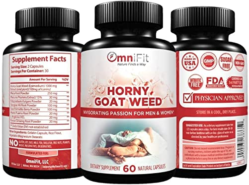 100 All Natural Horny Goat Weed Intense Passionate Energy for Men Women, 1560 mg of Epimedium Maca Root, Tongkat Ali Root, Mucuna Pruriens and More - 60 Veggie Capsules
