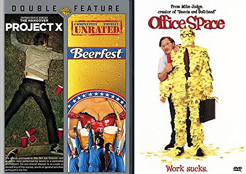 Beerfest & Office Space + Project X Comedy Set 3 Goof Movie Bundle Triple Feature - Ringer Hood