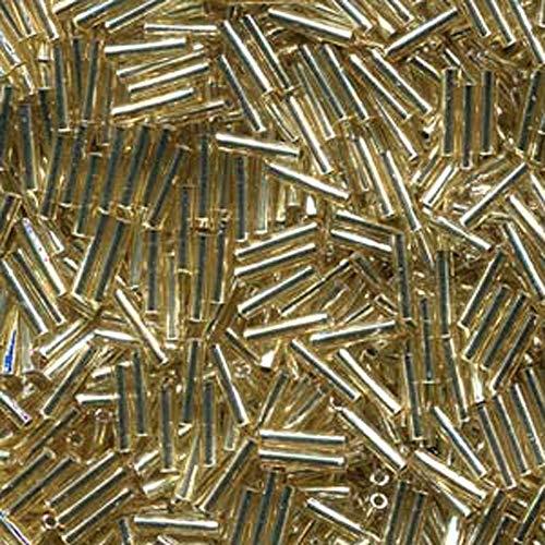 Bugle Miyuki Beads (Miyuki Slender Bugle 1.3x6mm Silver Lined Gold 13 Gram Retail Pack)