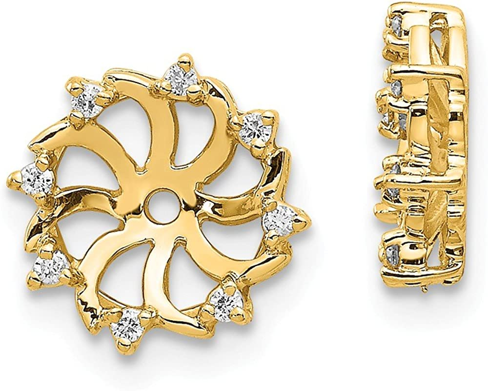 Solid 14k Yellow Gold Diamond Earring Jackets Mountings 5mm