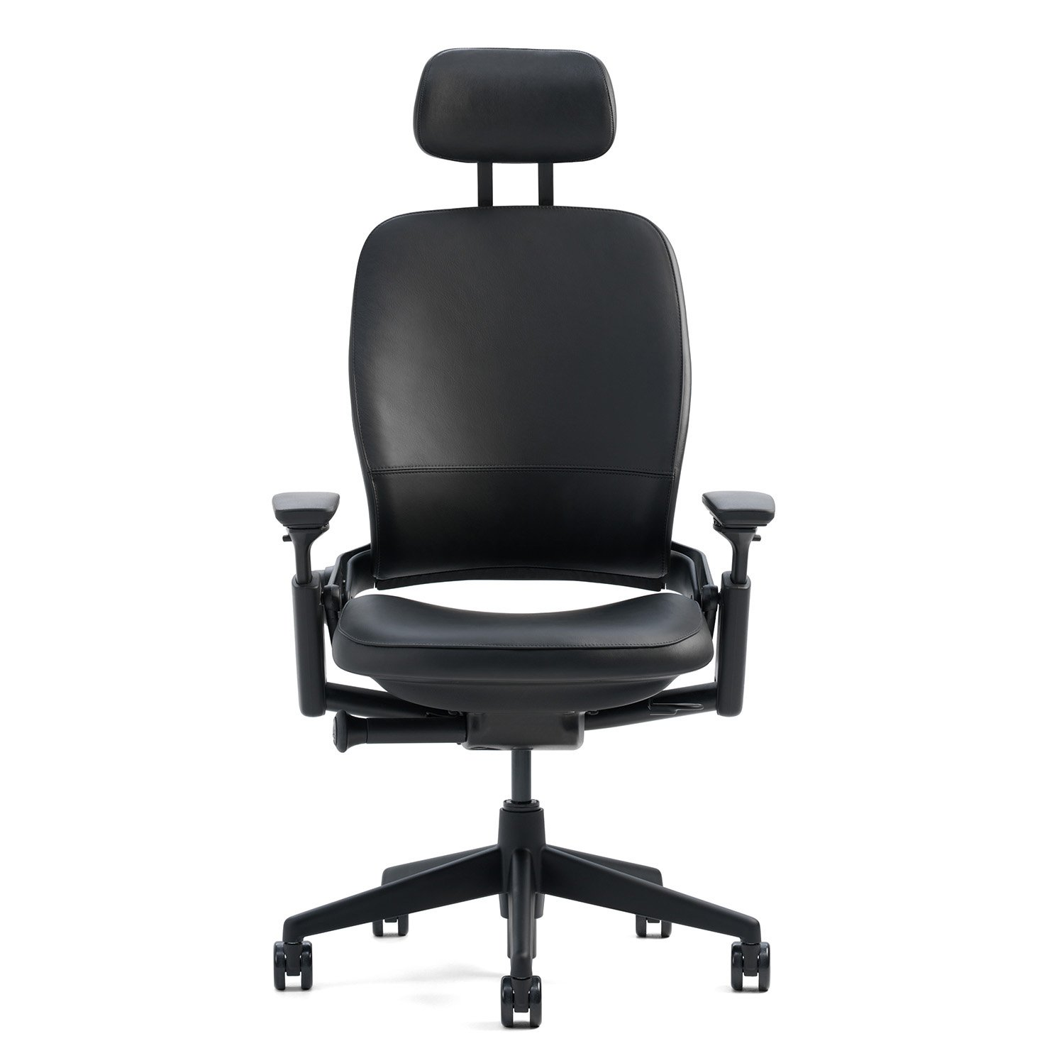 Aeron chair headrest - Amazon Com Steelcase Leap Desk Chair With Headrest In Buzz2 Black Fabric Highly Adjustable Arms Black Frame And Base Standard Carpet Casters Kitchen