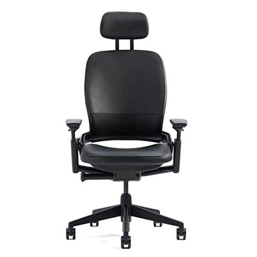 amazoncom steelcase leap desk chair with headrest in buzz2 chocolate fabric highly adjustable arms black frame and base standard carpet casters buzz2 upholstery fabric