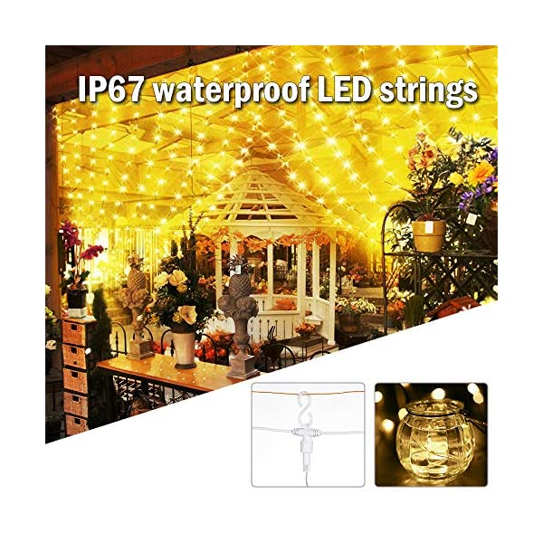 Tomshine Tenda Luci LED 3 x 3 meters, 300 LEDs con Luci Natale Tenda, IP65, 8 Programmi di Luce,Tenda di Luci per Natale, Decorazione Feste, Interni (Bianco Caldo) 5 spesavip