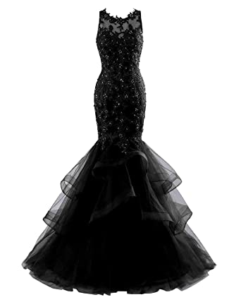 a3838684474e Changuan Mermaid Evening Dress for Women Formal Tulle Appliques Long Evening  Prom Gowns Black-2