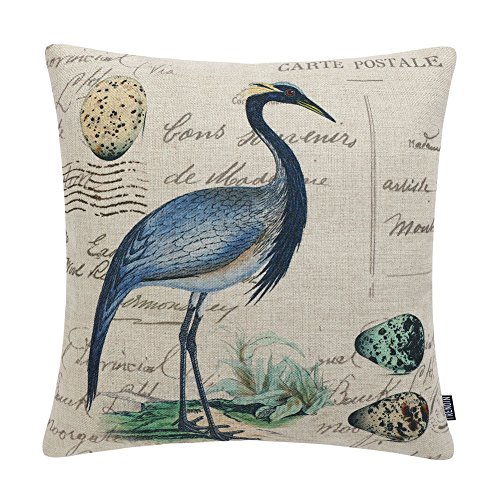 TRENDIN Cotton Linen Decorative Pillow Cover Rustic Cushion Cover for Couch, 18x18 inch(45x45cm), Bird and Egg Design PL218TR