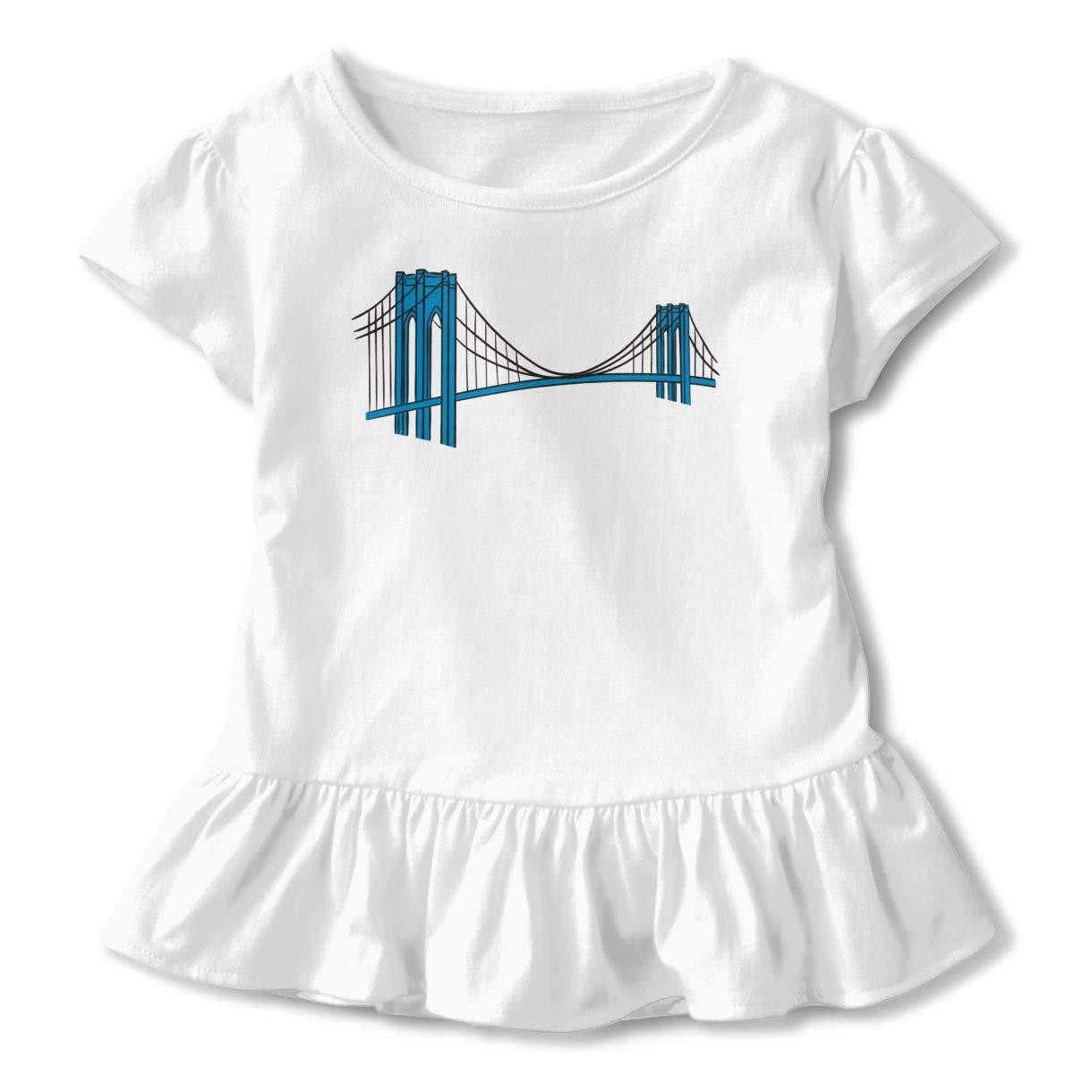 Brooklyn Bridge Shirt Design Baby Girl Flounced T Shirts Tops for 2-6T Kids Girls