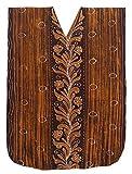 LA LEELA Cotton Batik Long Caftan Sleep Dress Women Brown_541 OSFM 14-18W [L-2X]