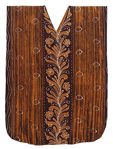 LA LEELA Cotton Batik Long Caftan Sleep Dress Women Brown_541 OSFM 14-18W [L-2X] by LA LEELA