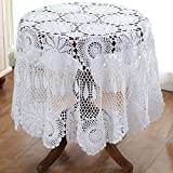 Gracebuy 55-87 Inch Round 100% HANDMADE Crochet Lace Tablecloth,White,63 Inch