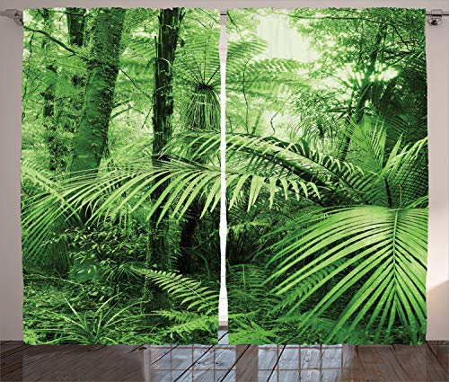 Ambesonne Rainforest Curtains, Palm Trees and Exotic Plants in Tropical Jungle Wild Nature Theme Illustration, Living Room Bedroom Window Drapes 2 Panel Set, 108 W X 90 L Inches, Green Brown
