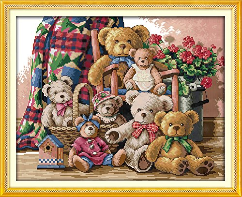 Joy Sunday Stamped Cross Stitch Kits Cross-Stitch Pattern Teddy Bear Family with 11CT Printed Fabric DIY Hand Embiodery Kits DMC Threads 23''x18.5'' Bear Cross Stitch Pattern