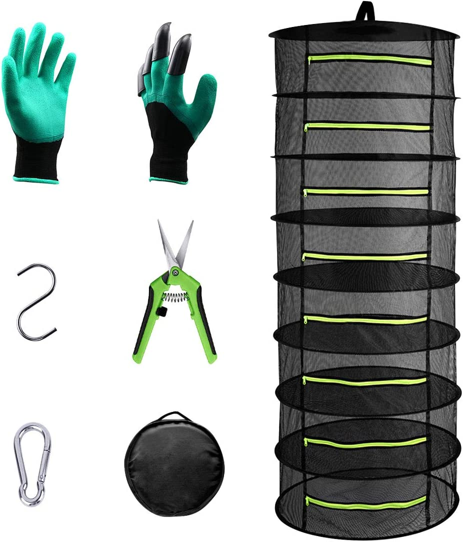 2ft 8-Layer Herb Drying Rack Net Set,Collapsible Breathable Hanging Mesh Dry Net with Green Zipper Including Garden Gloves,Pruning Scissors,Hook Carabiner
