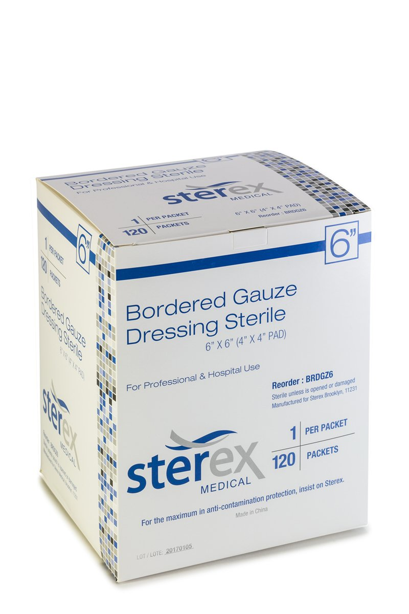 STEREX Bordered Gauze 6X6 STERILE 120/BX by Sterex
