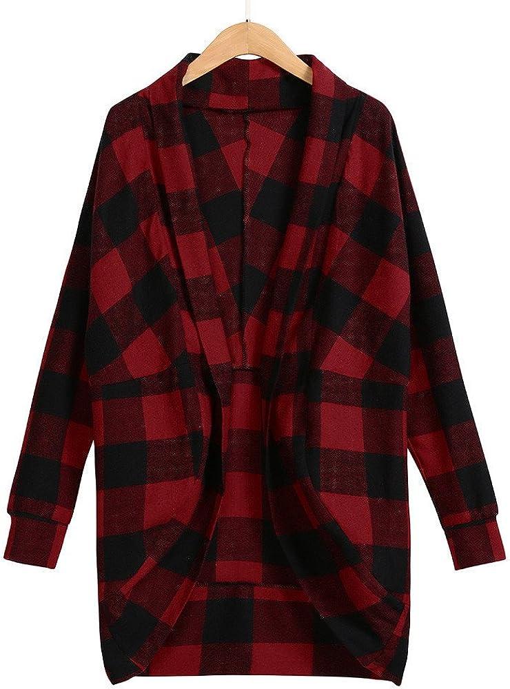 Zalanala Womens Long Irregular Lattice Print Jackets Autumn Ladies Coat Outwear Cardigan