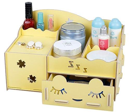 Tianmei escritorio organizador cajones mesa escritorio cajas de almacenamiento de mujer joyas cajas de almacenamiento de, beige: Amazon.es: Joyería