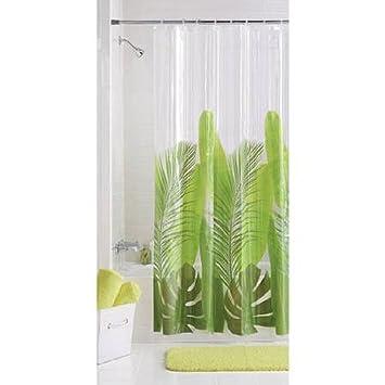 Photoreal Modern Tropical Leaf Vinyl Shower Curtain PEVA 1