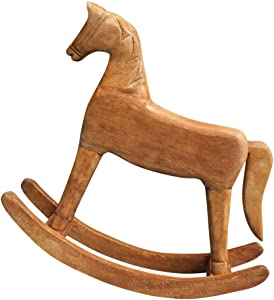 VOSAREA 18x6x18cm Wooden Rocking Horse Table Decoration Craft Home Art Furnishing