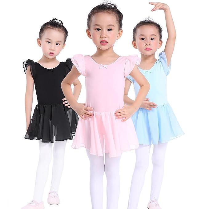 c36537286fec Amazon.com  Flutter Sleeves Ballet Leotard Skirted Dance Dress for ...