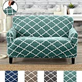 Great Bay Home Modern Velvet Plush Strapless Slipcover. Form Fit Stretch, Stylish Furniture Shield/Protector. Magnolia Collection Strapless Slipcover by Brand. (Loveseat, Aqua)