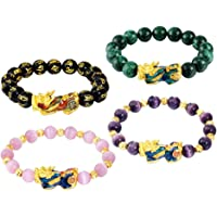 Abbraccia 4pack Chinese Feng Shui Obsidian Bead Pixiu Alloy Bracelet Lucky Jewelry Gifts
