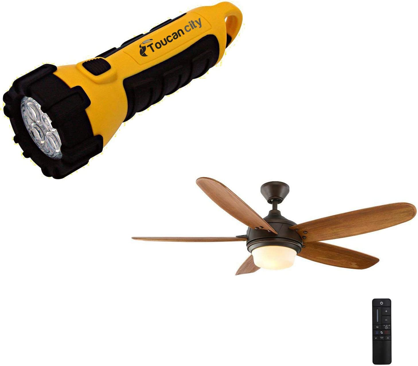 Toucan City LED Flashlight and Home Decorators Collection Breezemore 56 in. LED Indoor Mediterranean Bronze Ceiling Fan with Light Kit and Remote Control 51556