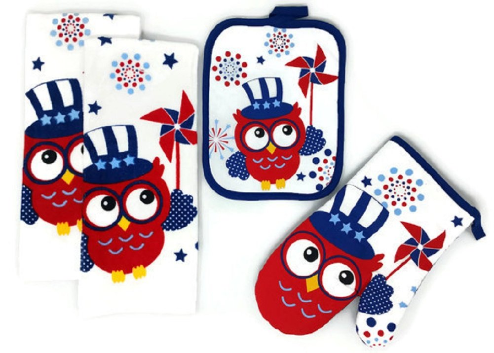 Mainstay Patriotic Kitchen Towels Pot Holder and Oven Mitt 4th of July Red White and Blue, Bundle of 4