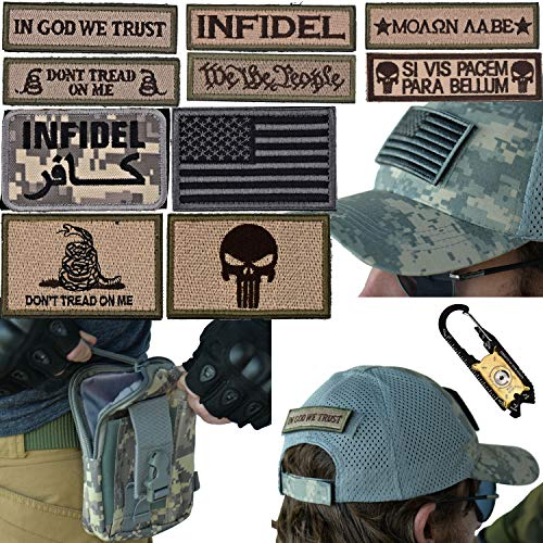 - Military Tactical [MESH] Hat Bundle: 20-in-1 Tool, Operator Cap with Embroidered Morale Patches (Velcro), and Pouch for Airsoft/Paintball - [U.S. Army - ACU Digital Camo]