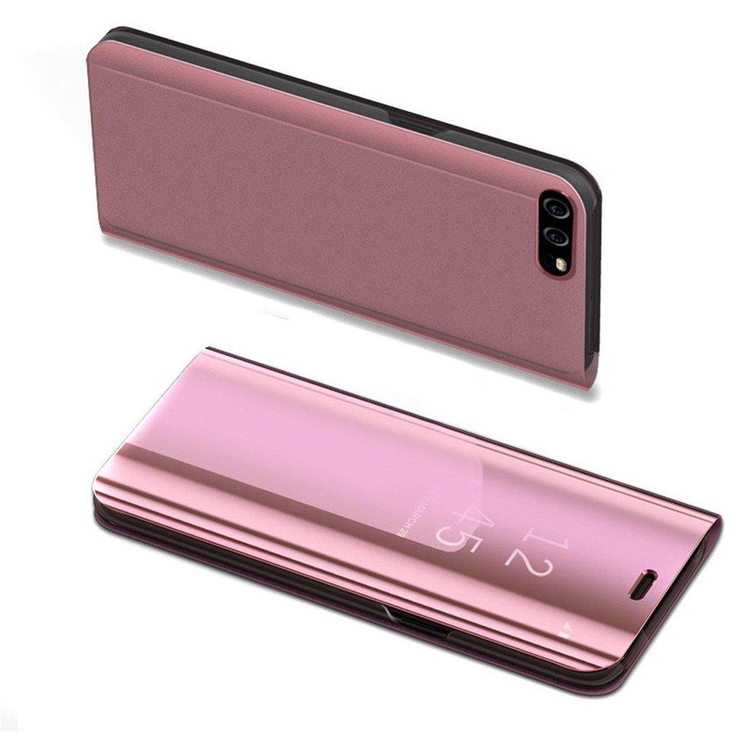 Huawei P9 Lite 2017ケースLEECOCO高級クリアビューメッキミラーメイクアップ[キックスタンド]フルボディカバーフリップPCとPUレザーケースカバーHuawei P9 Lite 2017ローズゴールドミラーPU   B07C86GNC1