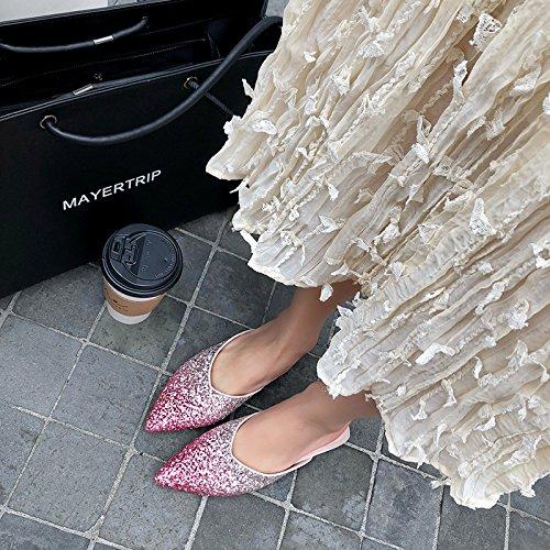 39 color base elegante sugerencia Baotou Moda degradado champán Transpirable 39 plana Sandalias Zapatillas AJUNR nO1vCaTwq8