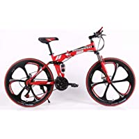 WILD WOLF BICYCLES Steel Folding Bicycle (Red_26 Inch)