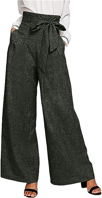 pantalon large ceinture femme