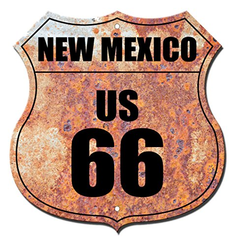 New Mexico Route 66 Shield Flag Rusty Novelty Highway Shield Metal Sign
