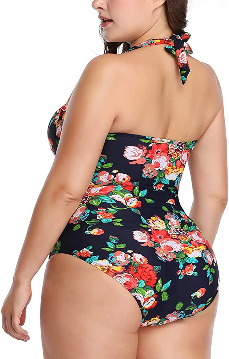 Canrulo Womens One Piece Swimsuits Vintage Floral Plus Size Monokini Halter Padding Bathing Suit