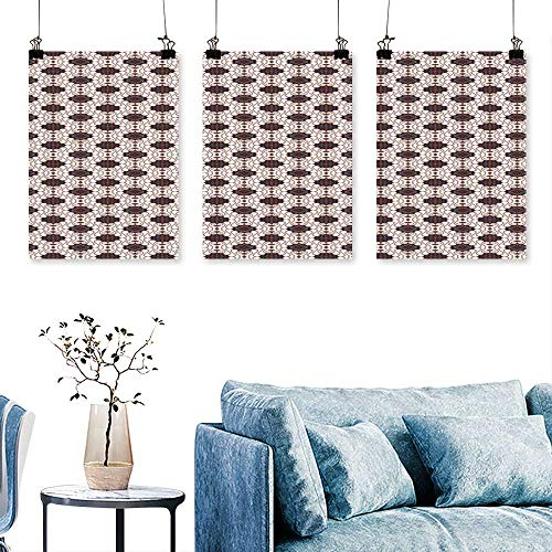 SCOCICI1588 3pcs Triptych Javanese B ik Tern Geometric fluences Dots to Hang for Living Room No Frame 16 INCH X 24 INCH X 3PCS