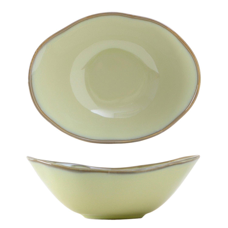 Tuxton Home Artisan Reactive Glaze Angled Bowl, 8''/20 oz, Sagebrush; Restaurant Grade Nonporous Virtrified China; Thermal Shock Tested; Lead and Cadmium Free