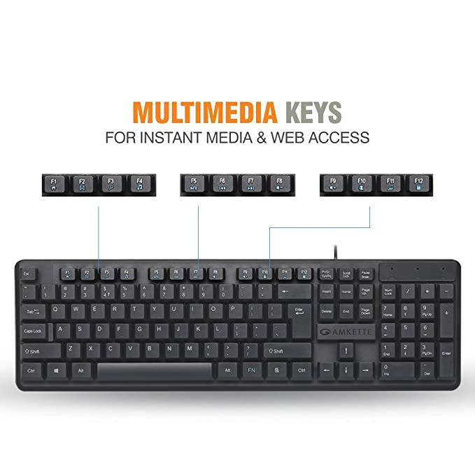 303580fb5d4 Amazon.in: Buy Amkette Lexus Multimedia Wired Keyboard (Black) Online at  Low Prices in India | Amkette Reviews & Ratings
