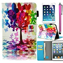 Bonice Samsung Galaxy Tab E 9.6 Case Slim Colorful Painted Pattern Leather Stand Folio Wallet Case with Card Slots Shockproof Protective Cover for Tab E 9.6 Inch Tablet (SM-T560 / T561 / T565 & SM-T567V Verizon 4G LTE Version) - Butterfly Tree