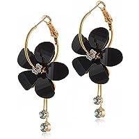ANDPAI Elegant Romantic Bohemian Crystal Acrylic Rose Flower Dangle Drop Earrings Five Leaves Exaggerated Round Hoop…