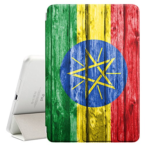 Ethiopian Wood - FJCases Ethiopia Ethiopian Wood Pattern Flag Smart Cover Stand + Back Case with Auto Sleep/Wake Function for Apple iPad 9.7