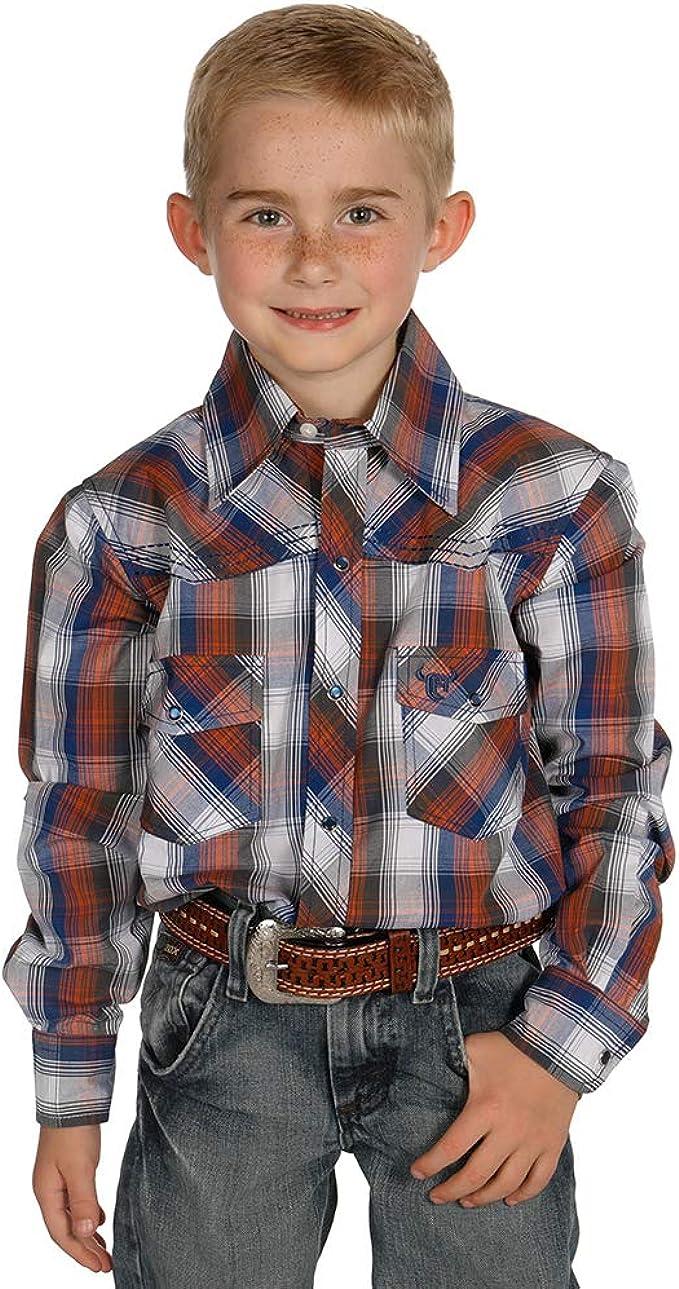 Cowboy Hardware - Camisa para niño con Broche de Bronce, diseño de Cuadros, Color Azul - Multi - Medium: Amazon.es: Ropa y accesorios