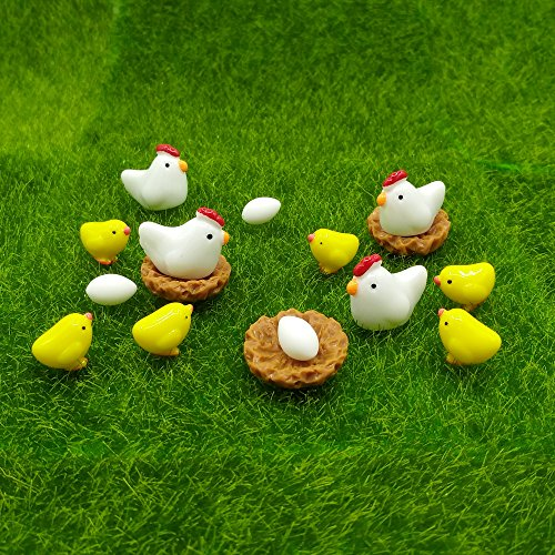 EMiEN 16 Pieces Hens Chickens Family Miniature Ornament Kits Set for DIY Fairy Garden Dollhouse Decoration,Hens,Henhouse,Chickens,Eggs Miniature Ornament for Fairy Garden Plant Décor Miniature Chicken