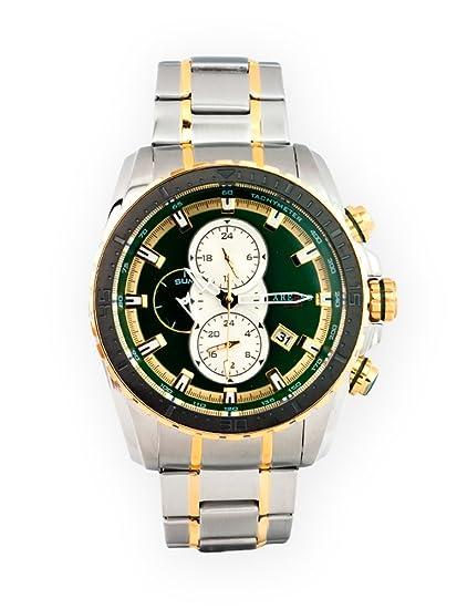 Reloj para caballero Aresso Sport Lujo multifunción con esfera verde en acero y acero dorado.