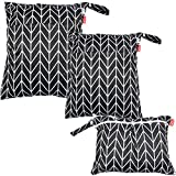 Damero 3pcs Wet and Dry Cloth Diaper Bag, Travel Packing Organizer with Handle
