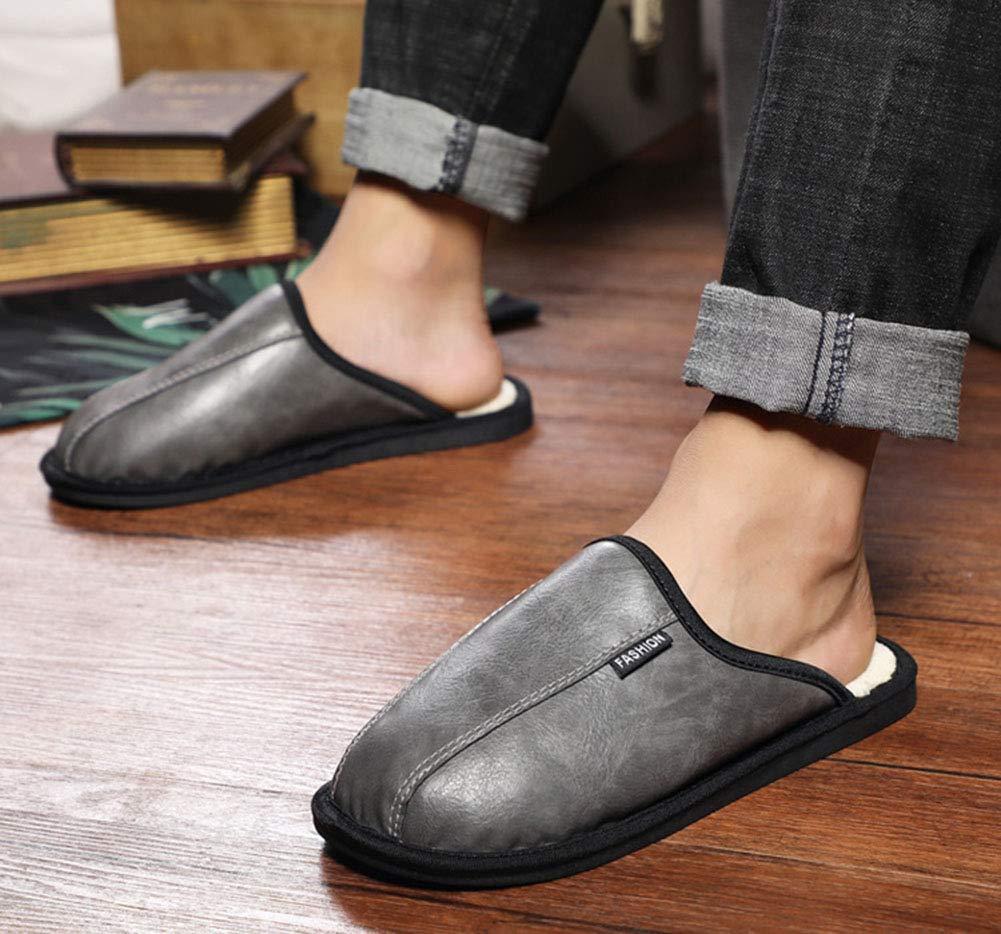 Pantofole di Cotone Unisex in Pelle Scarpe da da da Uomo Indoor Inverno Caldo Casa Antiscivolo Indossare Trascinare Scarpe in Cotone A Duplice Uso,nero,EU3839=25Cm da1f19