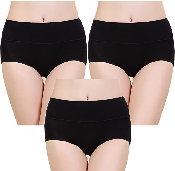 79221b73a609 Velidy Womens 100% Cotton Underwear High Waist Tummy Control Solid Color  Stretch Panties (Black